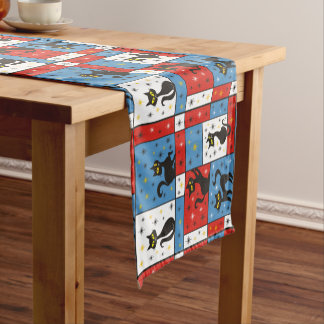 Composition with 5 Black Cats Short Table Runner