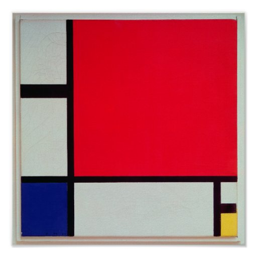 Composition with Red, Blue and Yellow Poster