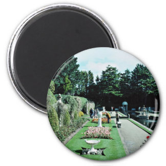 Compton Acres Italian Gardens, Poole, U.K.  flower 6 Cm Round Magnet