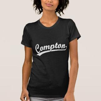 Compton script logo in white tees