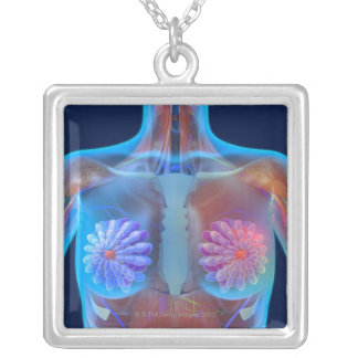 Computer artwork representing breast cancer, silver plated necklace