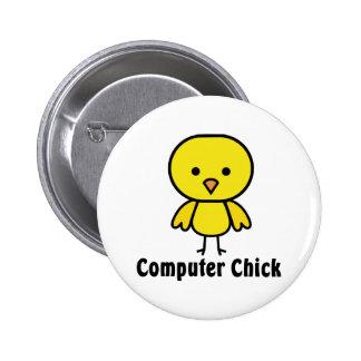 Computer Chick 6 Cm Round Badge