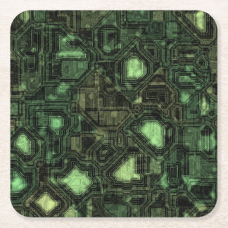Computer circuit background square paper coaster