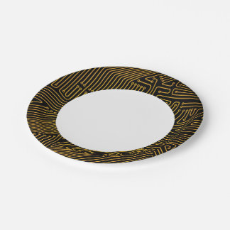 Computer circuit board pattern 7 inch paper plate