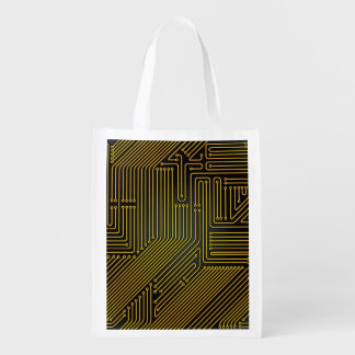 Computer circuit board pattern reusable grocery bag