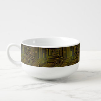 Computer circuit board pattern soup mug