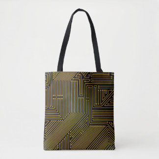 Computer circuit board pattern tote bag