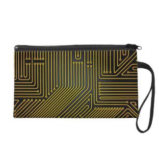 Computer circuit board pattern wristlet purses