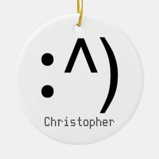 Computer Code Face Named Round Ceramic Decoration