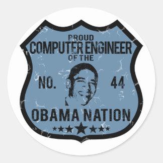 Computer Engineer Obama Nation Round Sticker