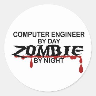 Computer Engineer Zombie Round Stickers