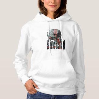 Computer Fried Skull Head, Ladies Fleece Hoodie