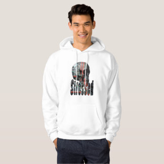 Computer Fried Skull Head, Mens White Hoodie