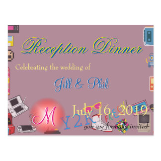 Computer Game Theme Wedding Postcard