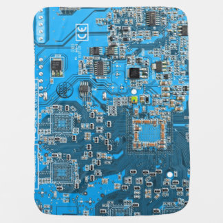 Computer Geek Circuit Board - blue Baby Blanket