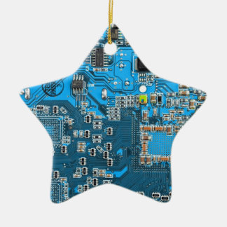 Computer Geek Circuit Board - blue Ceramic Star Decoration