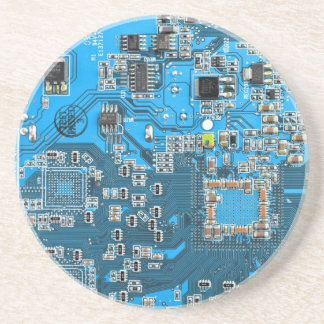Computer Geek Circuit Board - blue Coaster