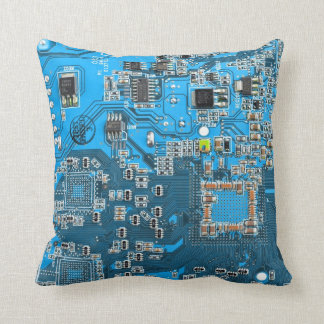 Computer Geek Circuit Board - blue Cushion