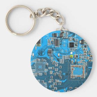 Computer Geek Circuit Board - blue Key Ring