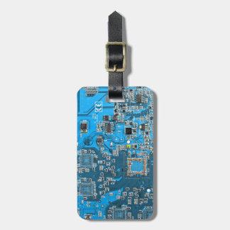 Computer Geek Circuit Board - blue Luggage Tag