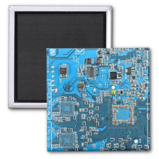 Computer Geek Circuit Board - blue Magnet