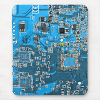 Computer Geek Circuit Board - blue Mouse Mat