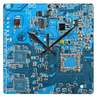 Computer Geek Circuit Board - blue Square Wall Clock