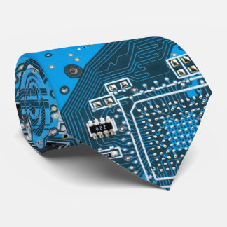 Computer Geek Circuit Board - blue Tie