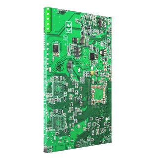 Computer Geek Circuit Board - green Canvas Print