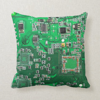 Computer Geek Circuit Board - green Cushion