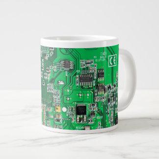 Computer Geek Circuit Board - green Large Coffee Mug