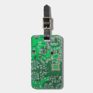 Computer Geek Circuit Board - green Luggage Tag