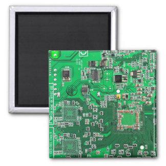 Computer Geek Circuit Board - green Magnet