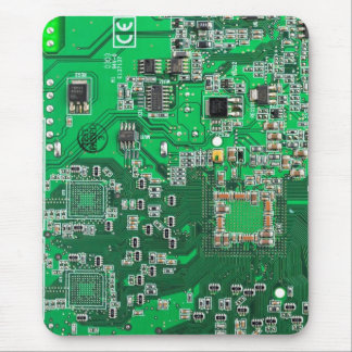 Computer Geek Circuit Board - green Mouse Pad