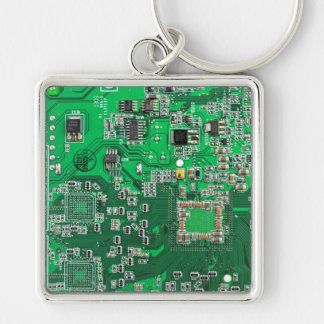 Computer Geek Circuit Board - green Silver-Colored Square Key Ring