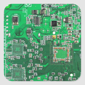 Computer Geek Circuit Board - green Square Sticker