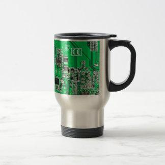 Computer Geek Circuit Board - green Travel Mug