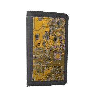 Computer Geek Circuit Board - neon orange Tri-fold Wallet