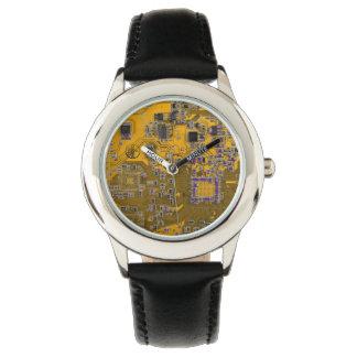 Computer Geek Circuit Board - neon orange Watch