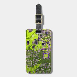 Computer Geek Circuit Board - neon yellow Luggage Tag