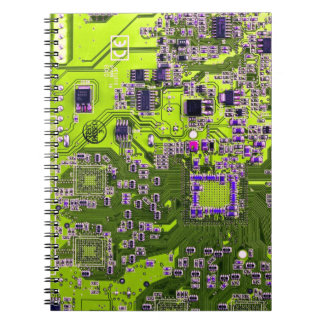 Computer Geek Circuit Board - neon yellow Spiral Note Book