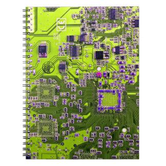 Computer Geek Circuit Board - neon yellow Notebook