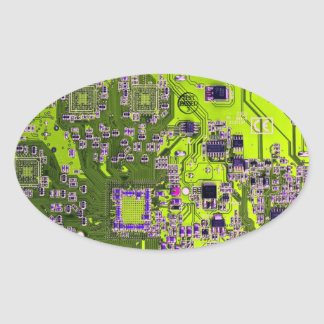 Computer Geek Circuit Board - neon yellow Oval Sticker