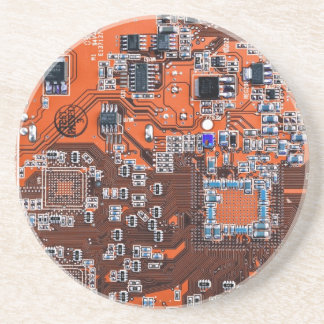 Computer Geek Circuit Board - orange Beverage Coaster