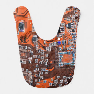 Computer Geek Circuit Board - orange Bib