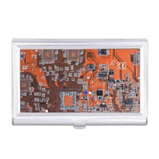 Computer Geek Circuit Board - orange Business Card Holder