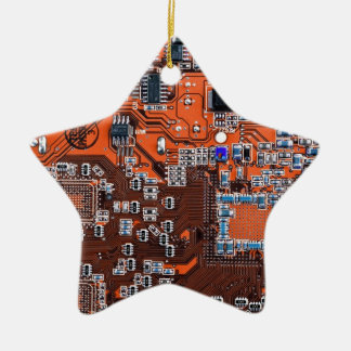 Computer Geek Circuit Board - orange Christmas Ornament