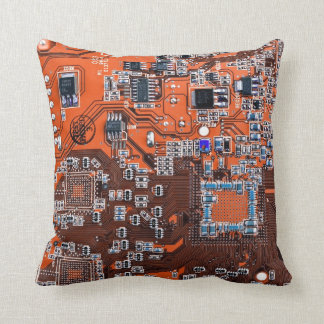 Computer Geek Circuit Board - orange Cushion