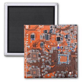 Computer Geek Circuit Board - orange Magnet