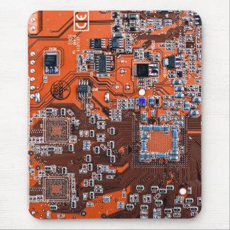Computer Geek Circuit Board - orange Mouse Pad